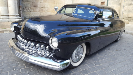 Foto op Canvas Vintage cars Old Car black american Collection in Exhibition vintage automobile