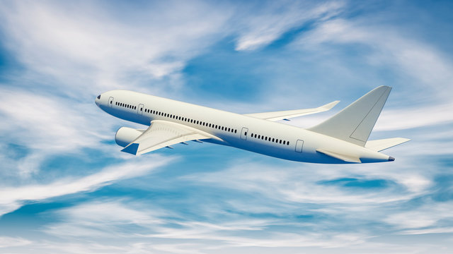 3D illustration of a passenger plane flying in the blue sky.