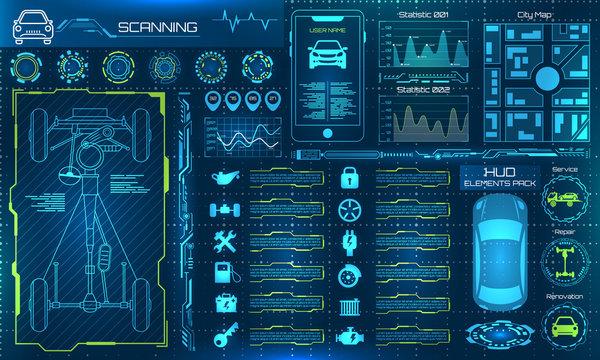 Set HUD Elements Car Service, Repair Infographics. Scanning, Test, Monitoring