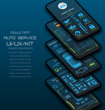 Design of Mobile Applications of Car Service. Scanning, Monitoring, Security User Interface