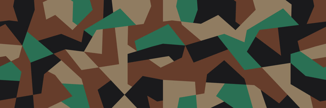 Geometric camouflage seamless pattern. Vector illustration for printing on cloth, textile, wallpaper, paper, wrapper. Green color camo, background in military style.