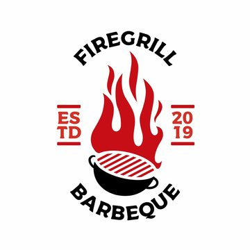 charcoal grill fire flame logo vector icon illustration