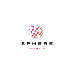 sphere digital globe dot tech spread 3D logo vector icon illustration