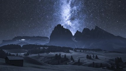 Wall Mural - Alpe di Siusi and milky way at night, Dolomites, timelapse