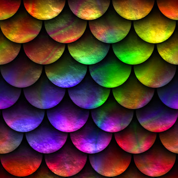 Seamless texture of fish scales, fish skin, rainbow color, 3d illustration