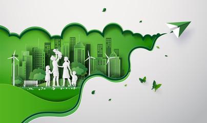 Fototapeta paper cut of eco obraz