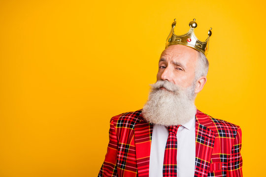 Close up photo of cool look grandpa white beard see pretty young princess flirty eyes wear golden crown red blazer tie outfit isolated bright yellow color background