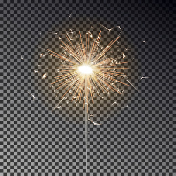 Sparkler candle vector isolated. Bengal fire light effect. Birthday firecracker sparkle effect. Vector illustration