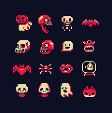 Halloween cute abstract characters set, cast, monster, bat, spider, skull, vampire, pixel art style icons, element design for logo, app, web, sticker. Video game sprite. Isolated vector illustration.