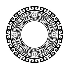 black element for creating a logo pattern, tribal tattoo circle pattern polynesian style, isolated vector frame