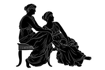 Two ancient Greek women sit side by side and look one way. Vector image isolated on white background.