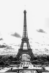 Paris, France, 09.10.2019: Eiffel Tower. Black and white photo. Vertical.