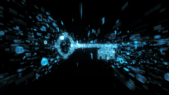 Glowing blue digital key with streaming binary numbers illustrating  cyber security and encryption