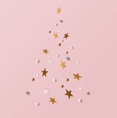 Golden and white glitter decoration and pink background. Celebration minimal Christmas tree.