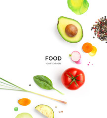 Creative layout made avocado, tomato, carrot, radish, lemongrass and black pepper on white background. Flat lay. Food concept. Macro concept.