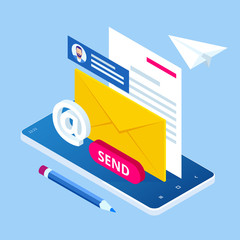 Obraz Isometric Email Inbox Electronic Communication. E-mail marketing. Receiving messages. New mail receive. Inbox message. Inbox email - fototapety do salonu