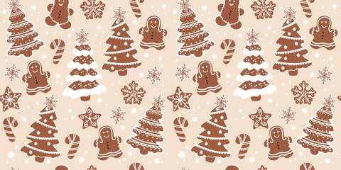christmas cookies in seamless pattern for decoration