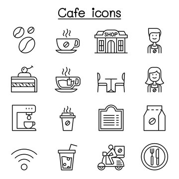 Cafe, Coffee icon set in thin line style