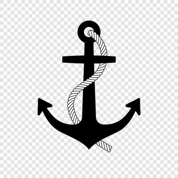 Nautical anchor with rope icon
