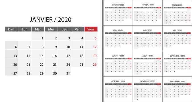 Simple calendar 2020