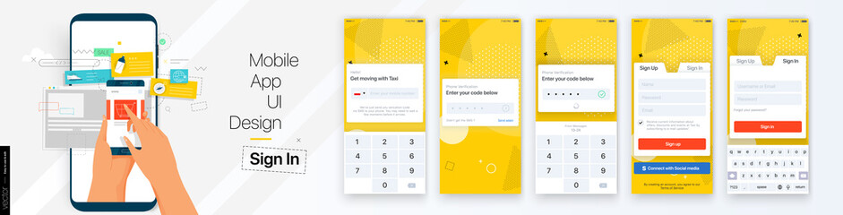 Design of the Mobile Application UI, UX. Set of GUI Screens with Login and Password input, Sign In and Sign Up