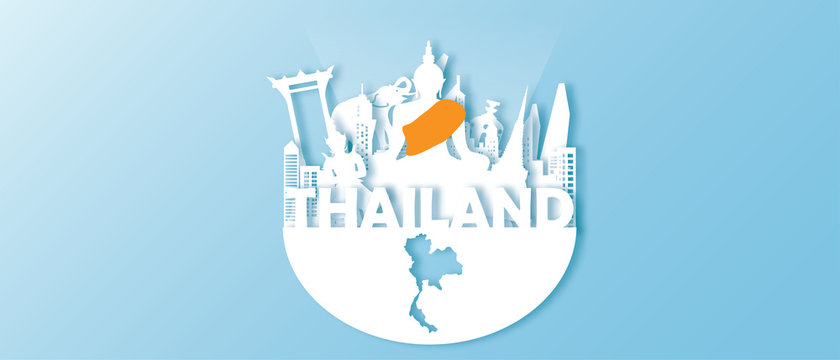 Thailand Travel postcard panorama, poster, tour advertising of world famous landmarks in paper cut style.