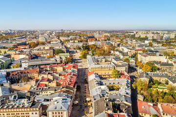 Lublin z lotu ptaka - deptak i widok na Plac Litewski. Krajobraz turystycznej części Lublina.