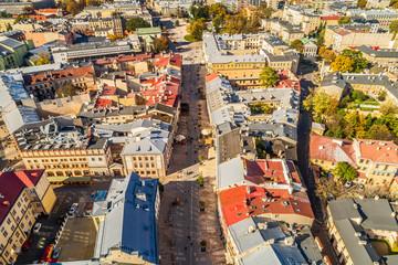 Lublin - deptak z lotu ptaka. Krajobraz miasta widziany z powietrza.