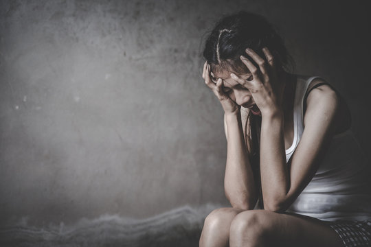 The woman who stressed severely, depression or domestic violence.