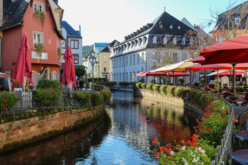 18 Oct 2019, Saarburg, West Germany - historical city center. Area near the river with restaurants.  Fototapete
