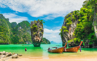 Poster Blue sky Amazed nature scenic landscape James bond island with boat for traveler Phang-Nga bay, Attraction famous landmark tourist travel Phuket Thailand summer vacation trips, Tourism destinations place Asia