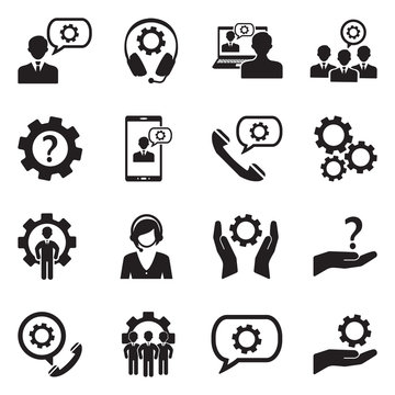 Technical Support Icons. Black Flat Design. Vector Illustration.