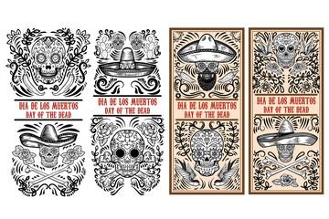 Set of Day of the dead (Dia de los muertos) flyer templates. Design element for poster, card, banner. Vector illustration Fototapete