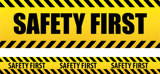 Banner safety first. Seamless tape, danger. Yellow police line. Danger warning. safety first, tape isolated on white background.