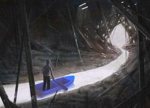 Fantasy scene Alone man on a boat in the cave of broken architecture