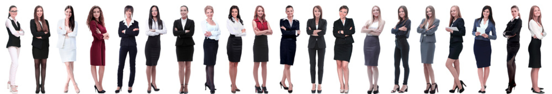 group of successful young businesswoman standing in a row