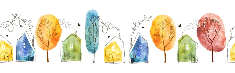Fototapeta Seamless pattern with hand painted watercolor village. Houses and trees isolated on white background. obraz