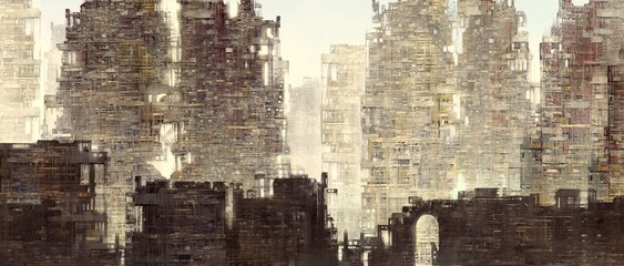 Panorama futuristic city fantasy painting illustration
