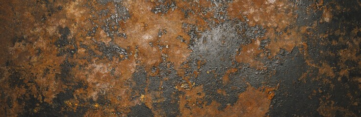 Fotorolgordijn Metal Grunge rusty dark metal background texture or backdrop, banner size