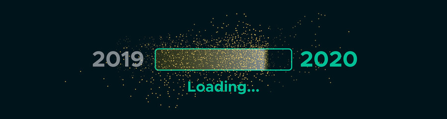 Progress bar with golden particles on black Download New Year's Eve. Loading animation screen with Glitter confetti shows almost reaching 2020. Creative festive banner with shiny progress bar.