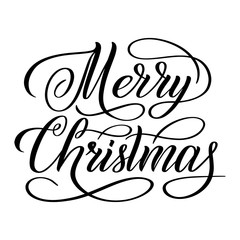 Merry Christmas black isolated cursive sign. Calligraphic style. Hand writing script. Brush pen lettering. Handwritten phrase. Vector design element for greeting cards.