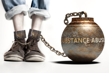 Substance abuse can be a big weight and a burden with negative influence - Substance abuse role and impact symbolized by a heavy prisoner's weight attached to a person, 3d illustration