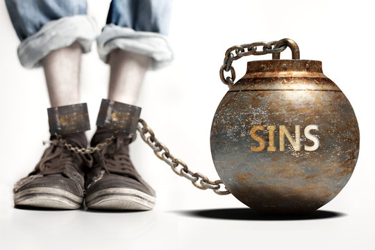 Sins can be a big weight and a burden with negative influence - Sins role and impact symbolized by a heavy prisoner's weight attached to a person, 3d illustration