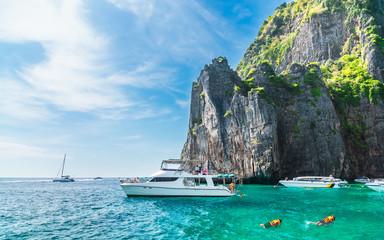 Beautiful nature scenic landscape Maya bay with boat for traveler joy snorkelling Phi Phi island...