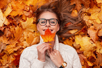 Happy pretty young woman with a cute smile in a glasses in a sweater with a maple leaf in hands lies on golden foliage. Cheerful girl enjoys relaxes outdoors on a warm autumn day. View from above.