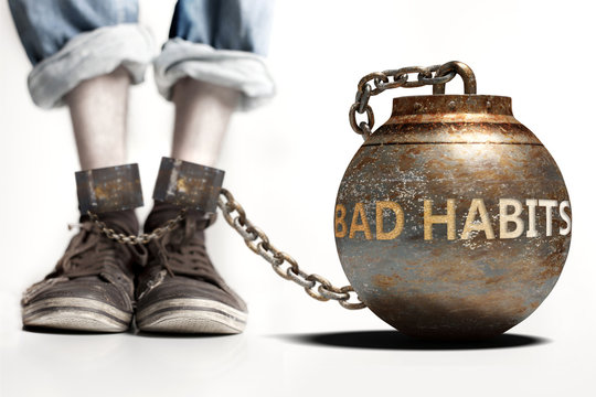 Bad habits can be a big weight and a burden with negative influence - Bad habits role and impact symbolized by a heavy prisoner's weight attached to a person, 3d illustration