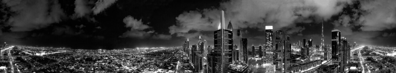 Aerial view of Dubai buildings at night, United Arab Emirates Fototapete