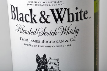 Black and White Scotch Whisky bottle closeup, Scotland