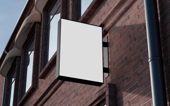 Blank, outdoor signage, signboard mockup, sign. 3d rendering