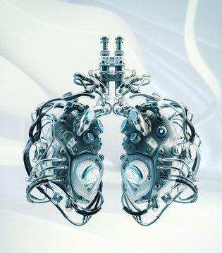 Robotic lungs, 3d illustration